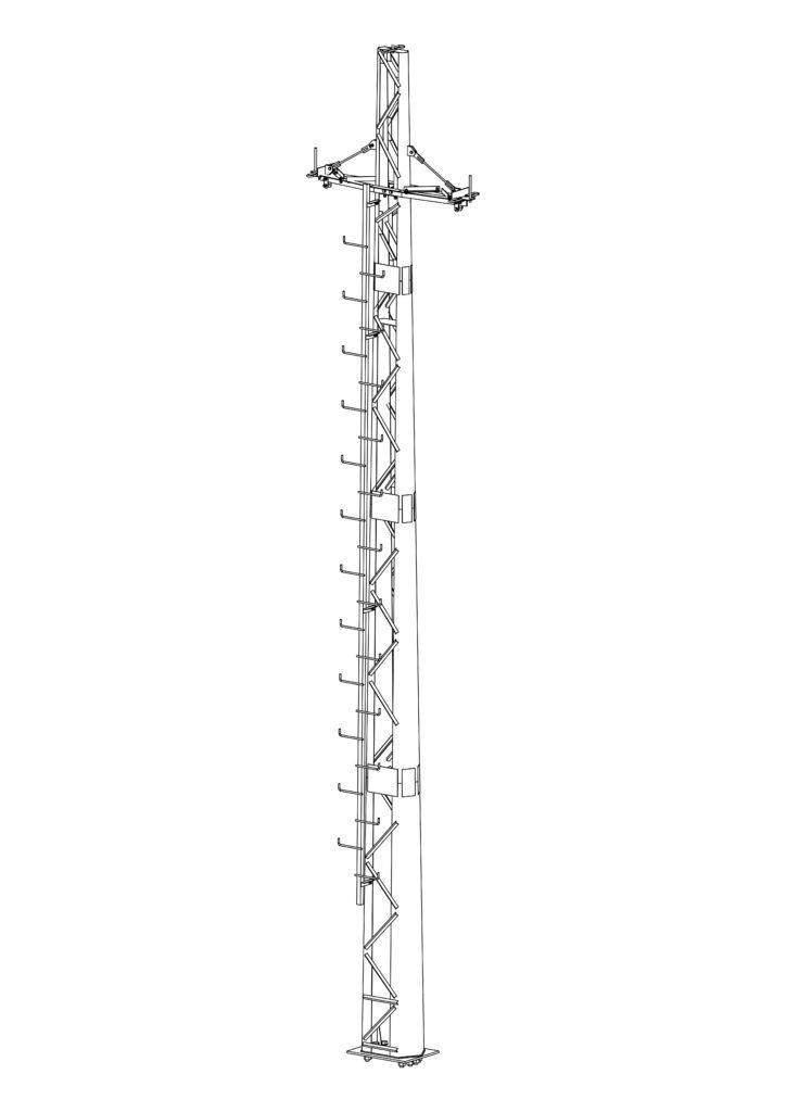 многогранная опора АУПС10Ф-1Рм - с лестницей